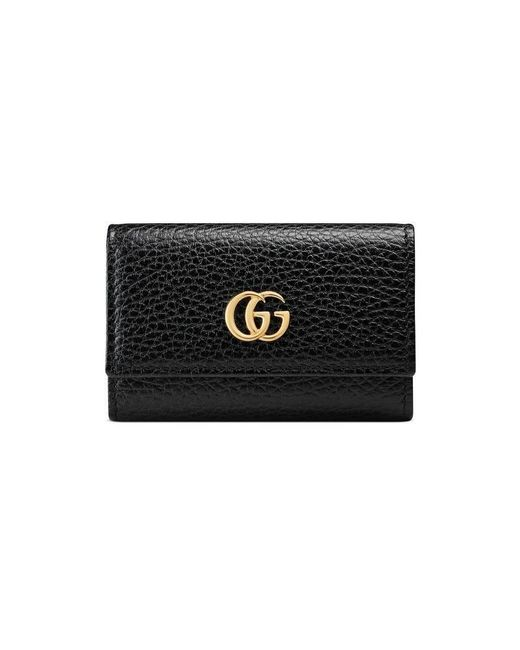Gucci Black GG Marmont Leather Key Case