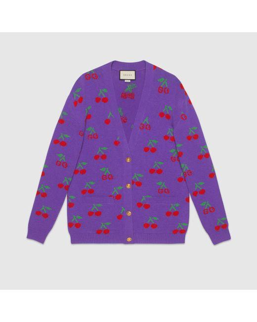 Gucci グッチGGチェリー ジャカード ウールニット カーディガン Purple