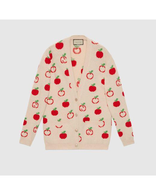 Gucci グッチGGアップル ウールジャカード カーディガン Multicolor