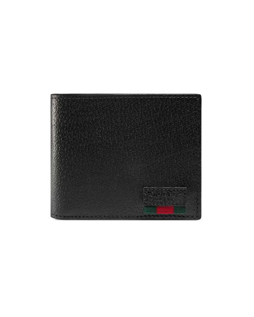 Gucci Black Leather Bi-fold Wallet With Web for men