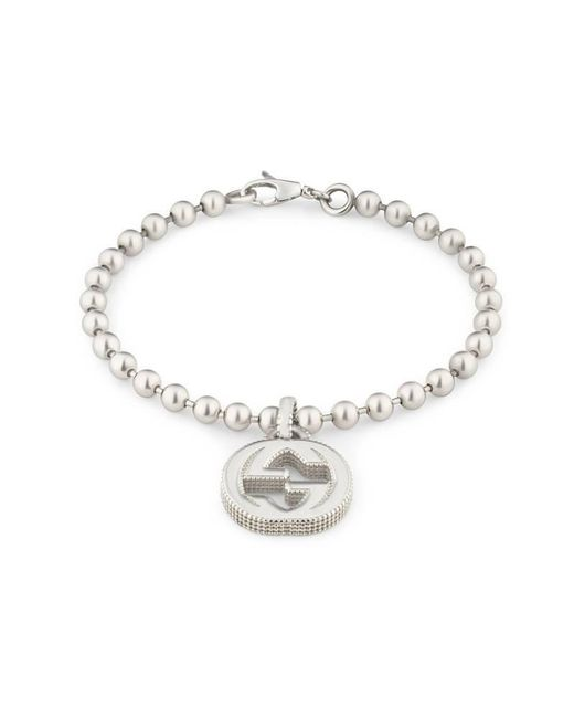 Gucci | Metallic Interlocking G Bracelet In Silver | Lyst