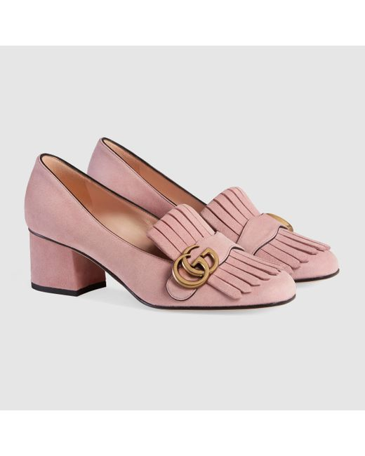 gucci marmont fringed suede court shoes in pink save 22