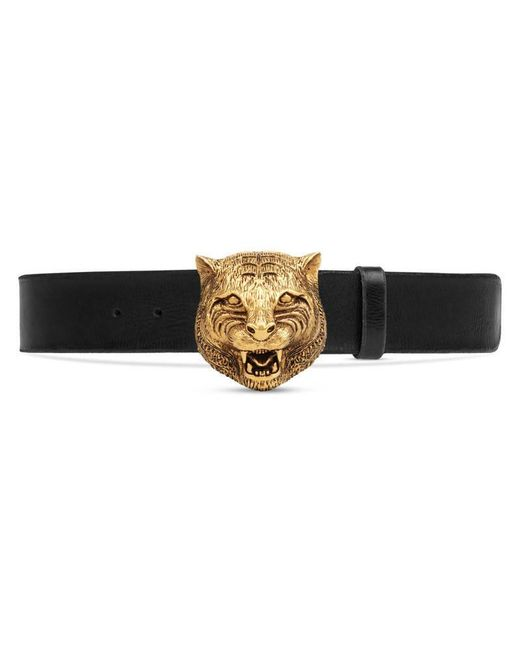 gucci leather belt with feline buckle in black lyst