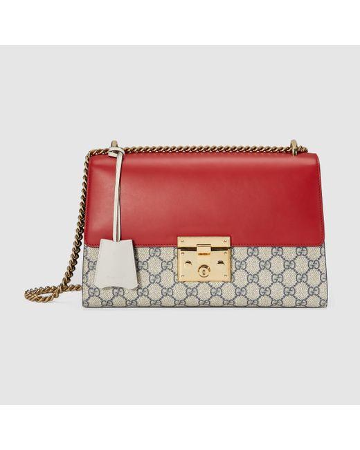 8ebf811780e7 Gucci Padlock Gg Advanced Leather Shoulder Bag 409486 Red | Stanford ...