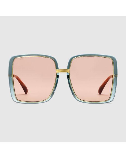 Gucci 【公式】 (グッチ)スクエアフレーム サングラス(アジアン フィット)ライトブルー&ゴールドブルー Multicolor