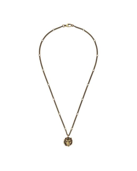 Gucci | Metallic Necklace With Lion Head Pendant | Lyst