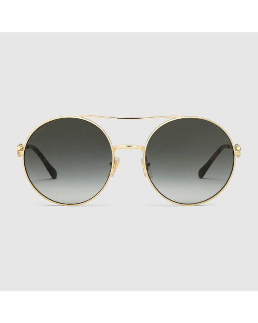 Gucci 【公式】 (グッチ)ラウンドフレーム サングラスゴールド メタル&グレーゴールド Multicolor