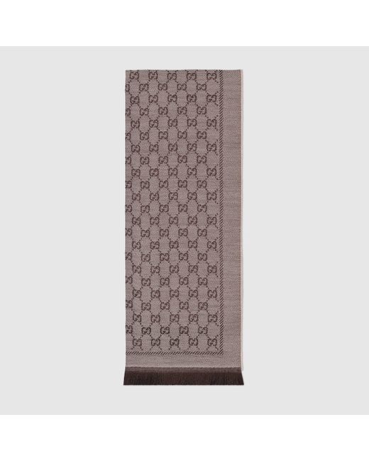 Gucci 【公式】 (グッチ)GGジャカード ウール スカーフベージュ&ブラウン ベージュ Natural