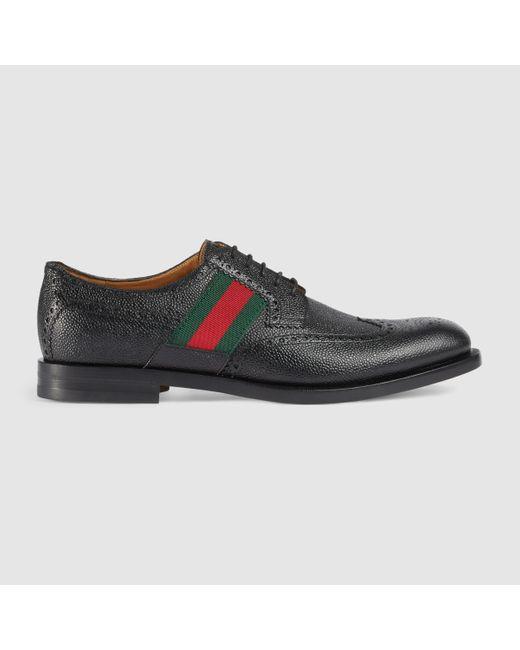 Gucci | Black Leather Script Logo Detail Oxfords for Men | Lyst