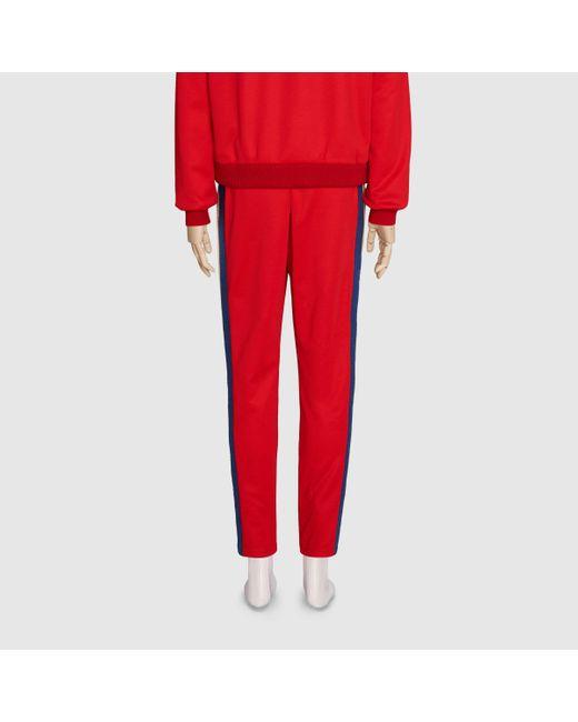 メンズ Gucci グッチテクニカルジャージー ジョギングパンツ Red