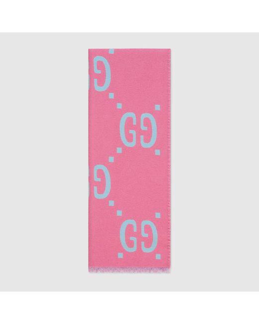 Gucci グッチGGジャカード ウールシルク スカーフ Pink