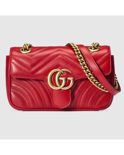 Gucci 【公式】 (グッチ)〔GGマーモント〕 キルティング ミニバッグハイビスカスレッド レザーレッド Red
