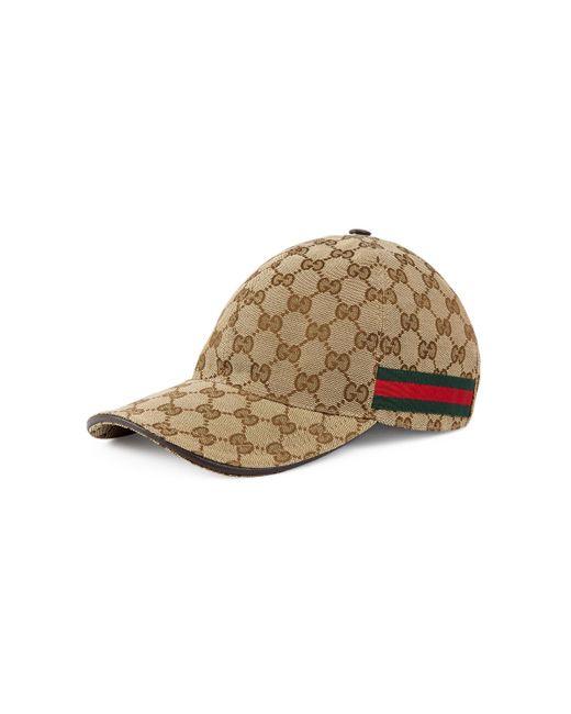 Gorra de béisbol con detalle de tribanda Gucci de color Natural