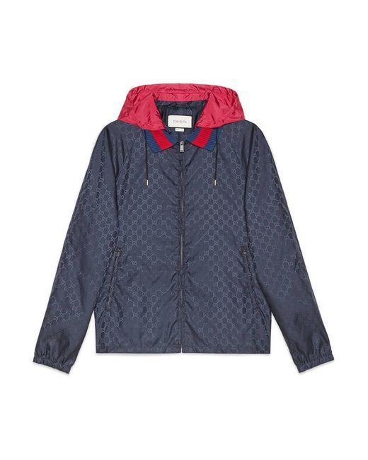 Gucci | Blue Gg Jacquard Nylon Jacket for Men | Lyst