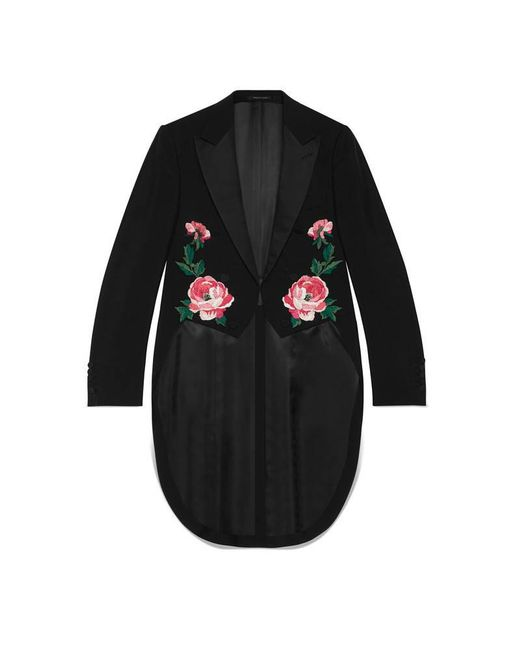 Gucci   Black Embroidered Wool Mohair Tailcoat for Men   Lyst