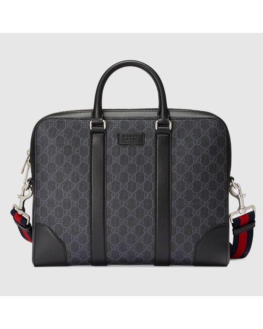 メンズ Gucci GGスプリーム キャンバス ブリーフケース Black