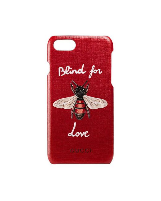 gucci iphone 7 case with bee in red lyst. Black Bedroom Furniture Sets. Home Design Ideas