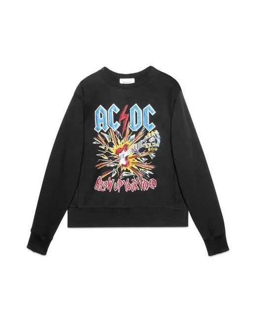 Gucci   Black Cotton Sweatshirt With Ac/dc Print for Men   Lyst