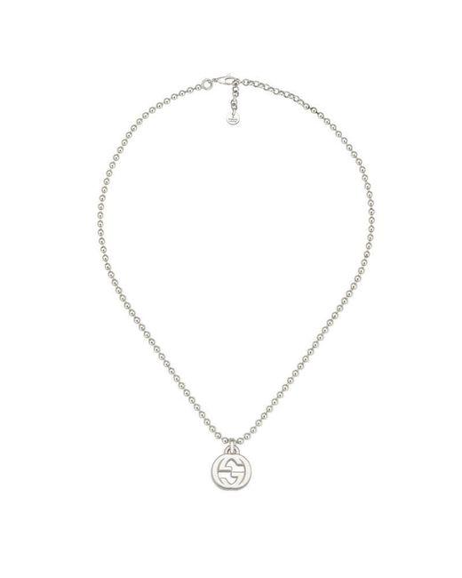 Gucci   Metallic Interlocking G Necklace In Silver   Lyst