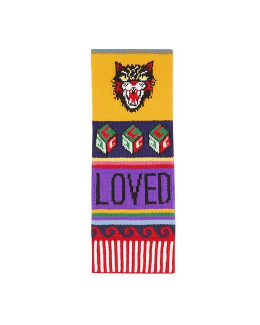Gucci | Multicolor Striped Symbols Wool Scarf | Lyst