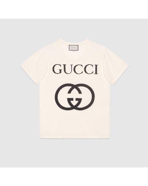 メンズ Gucci グッチインターロッキングg コットン オーバーサイズ Tシャツ White