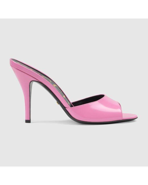 Gucci グッチレザー ハイヒール スライドサンダル Pink