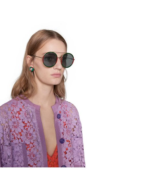 Gafas de sol redondas Gucci de color Blue