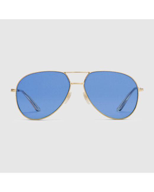 Gucci グッチアビエーター メタル サングラス Blue