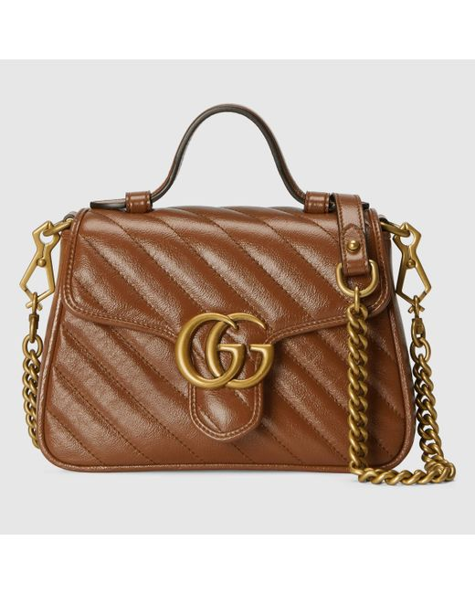 Gucci 【公式】 (グッチ)〔GGマーモント〕ミニ トップハンドルバッグブラウン レザーブラウン Brown