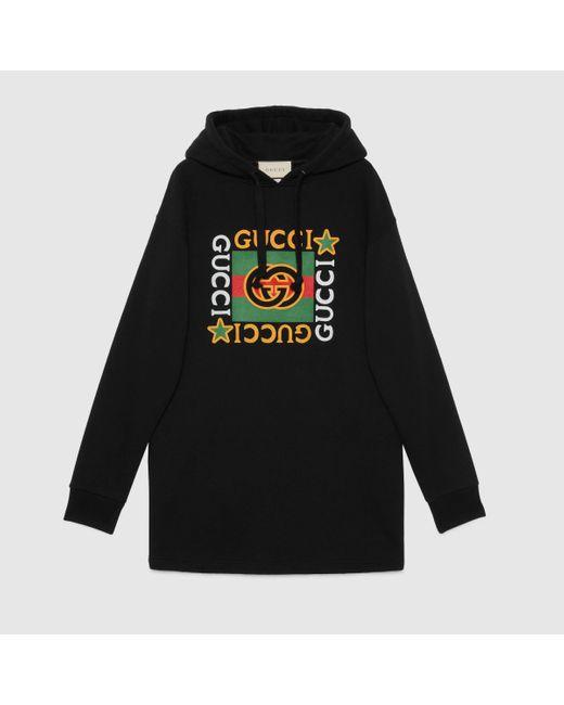 Gucci Black Kapuzenkleid mit Logo und Sternen-Print