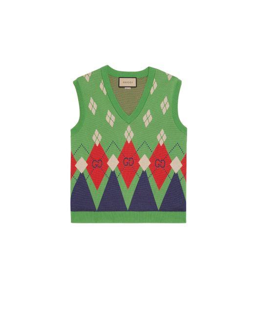 Chaleco de punto de lana con rombos y GG Gucci de hombre de color Green