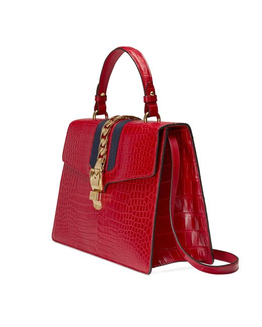 Gucci Red Sylvie Crocodile Top Handle Bag