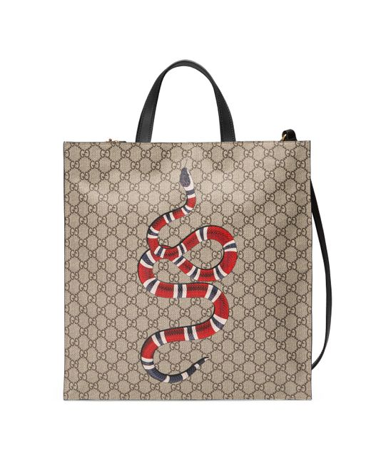 6a08805f283 Gucci - Natural Kingsnake Print Soft GG Supreme Tote for Men - Lyst ...