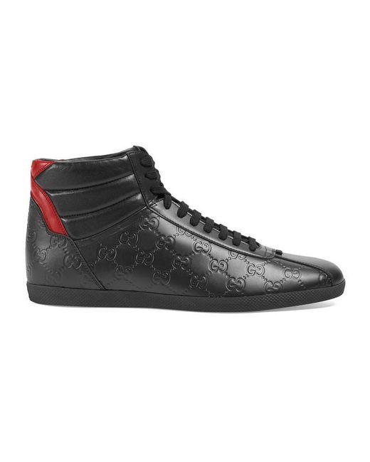 Gucci - Black Signature High-top Sneaker for Men - Lyst