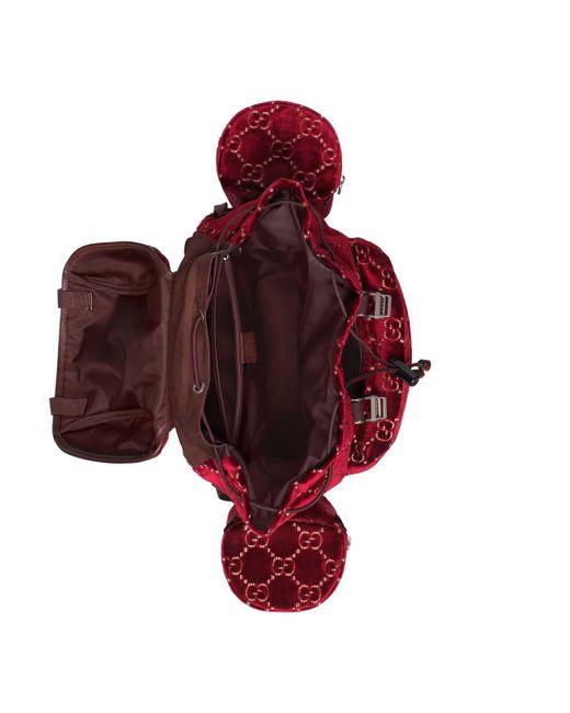 ed3b47e5038e ... Gucci - Brown Large GG Velvet Backpack for Men - Lyst ...