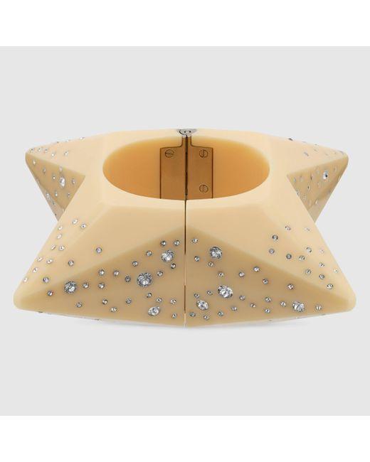 Gucci Natural Armband aus Kunstharz mit Kristallen