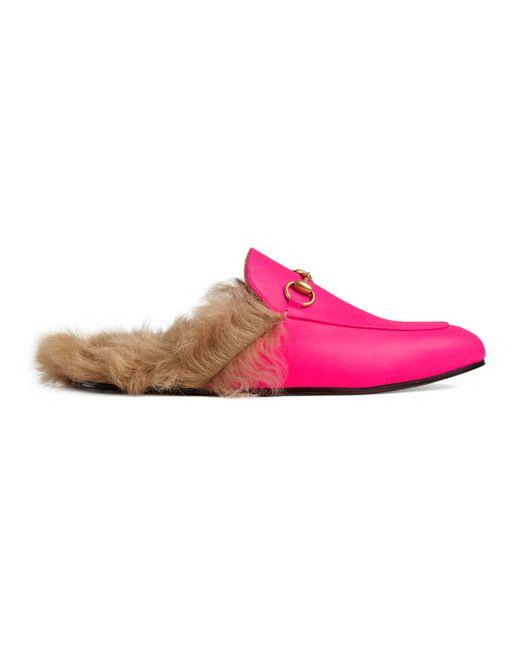 Gucci - Pink Slipper Princetown de Piel Fluorescente for Men - Lyst
