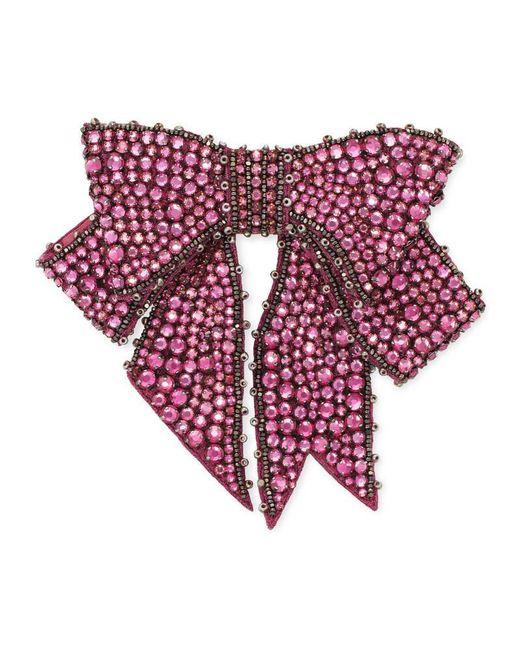 Gucci | Purple Crystal Bow Brooch | Lyst