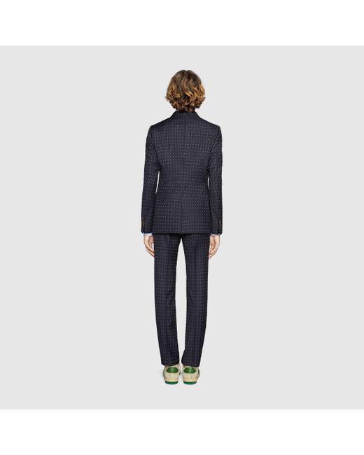 メンズ Gucci グッチ〔モナコ〕gドット ウール スーツ Blue
