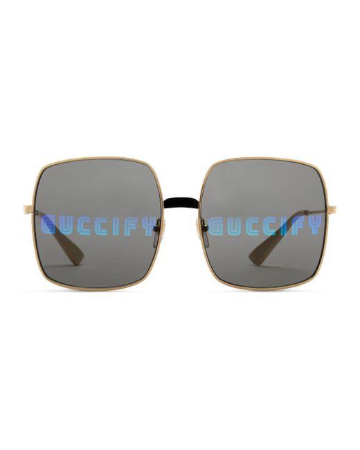 8f7af0052c Gucci - Gray Rectangular-frame Metal Sunglasses - Lyst ...