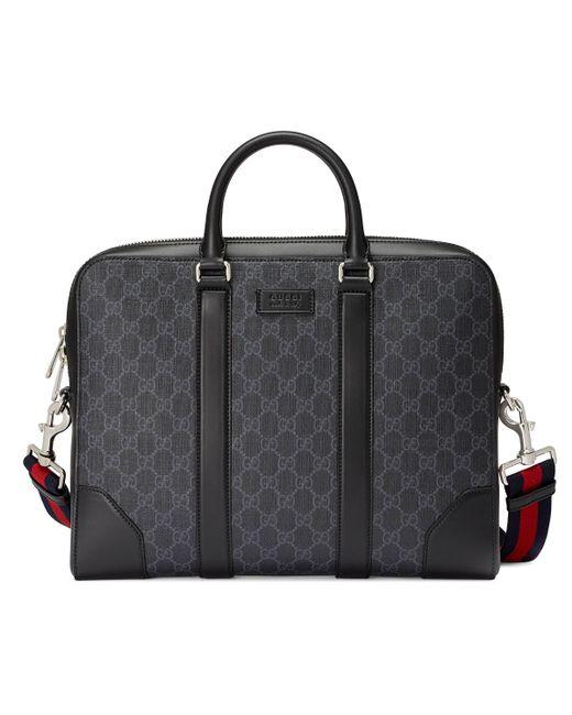 242aa84a5f65 Gucci - Black GG Supreme Briefcase for Men - Lyst ...
