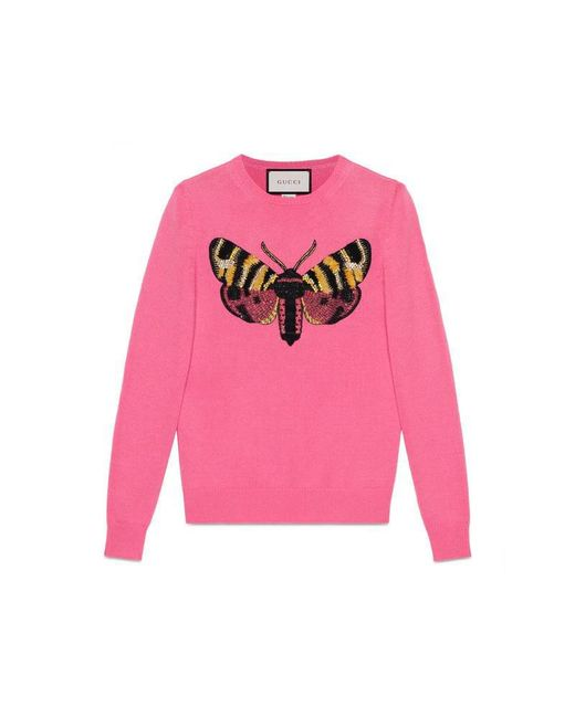 Gucci | Pink Embroidered Cashmere Knit Top | Lyst
