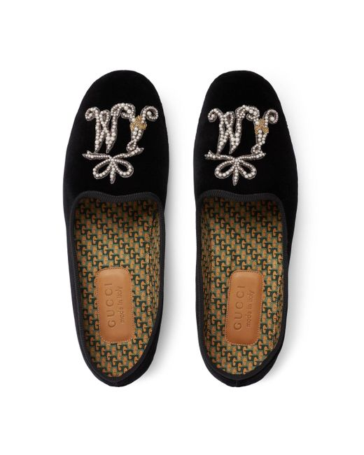 bedd47280 ... Gucci - Black Men's Velvet Loafer With Am Appliqué for Men - Lyst
