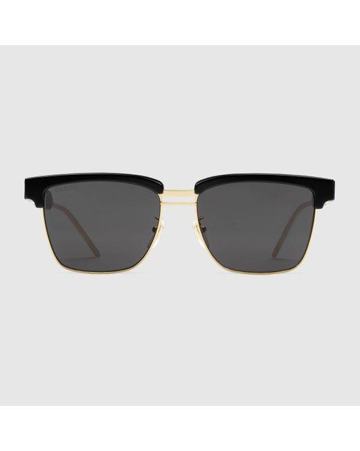 Gucci 【公式】 (グッチ)スクエア メタル&アセテート サングラスブラック アセテートブラック Multicolor