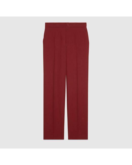 Gucci ウールシルク パンツ Red