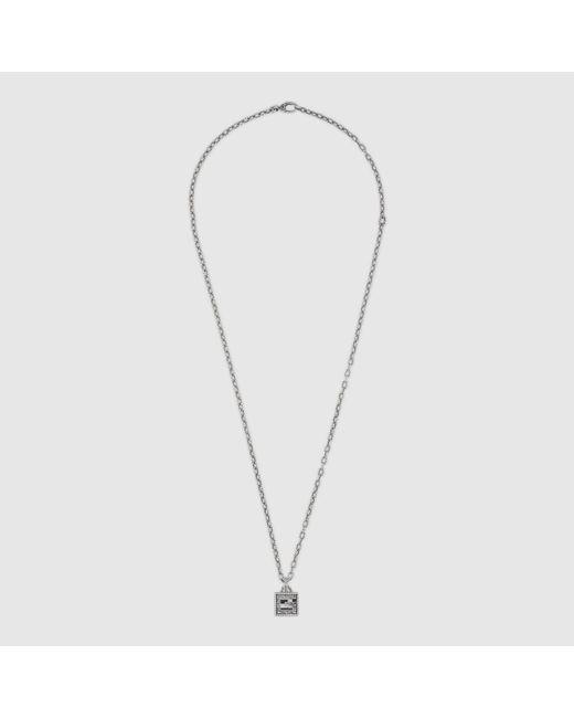 Gucci 【公式】 (グッチ)スクエアg クロス シルバー ネックレススターリングシルバーundefined Metallic