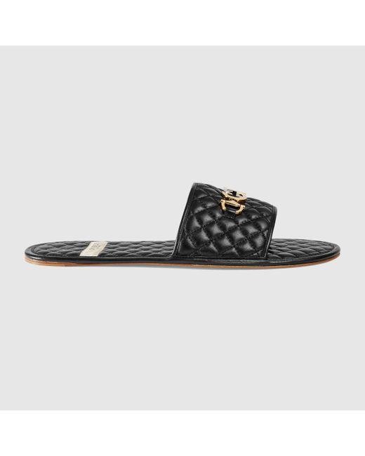 メンズ Gucci グッチインターロッキングg ホースビット付き メンズ スライドサンダル Black