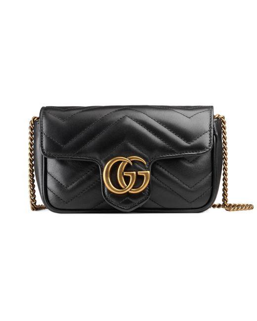 Gucci Black GG Marmont Matelassé Leather Super Mini Bag