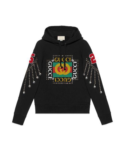 Gucci - Black Pullover mit Logo und Kristallen for Men - Lyst