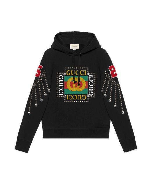 Gucci - Black Sudadera con Logo y Cristales for Men - Lyst